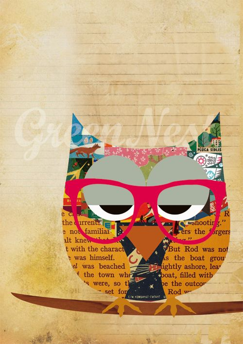 Pink Nerd Glasses Collage Poster Print by Green Nest