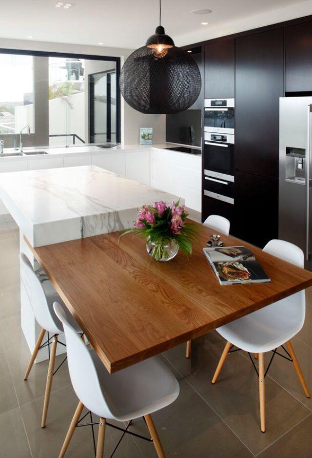 Isla con mesa | cocinas | Pinterest | Mesas, Cocinas y Cocina moderna