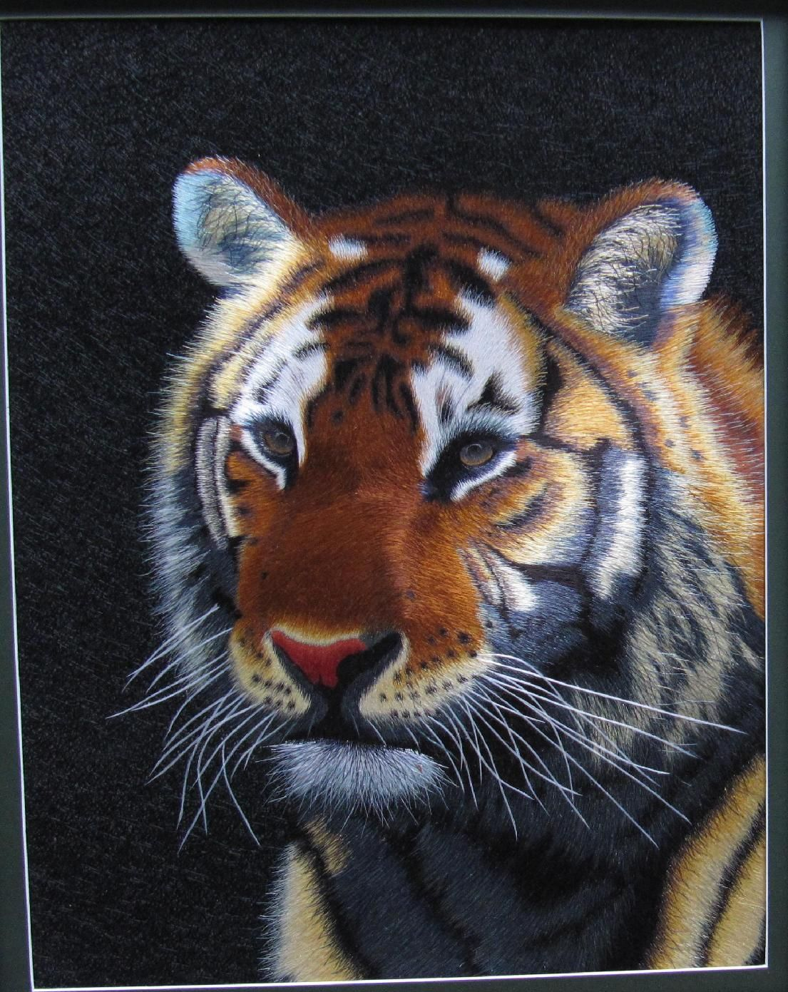 Top grade handmade silk embroidery tiger painting from China