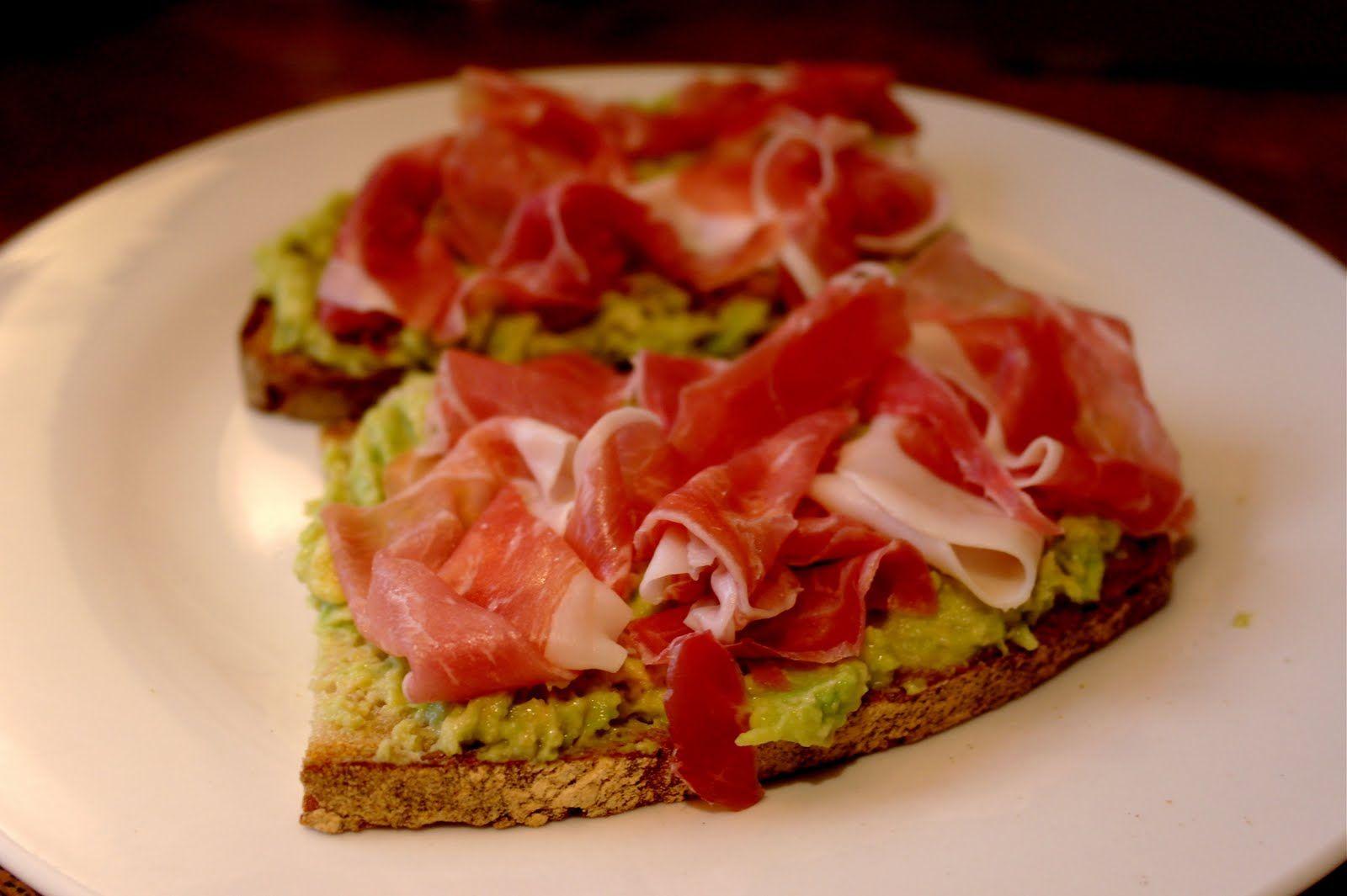 The Londoner: Roasted garlic guacamole & serrano ham on toast