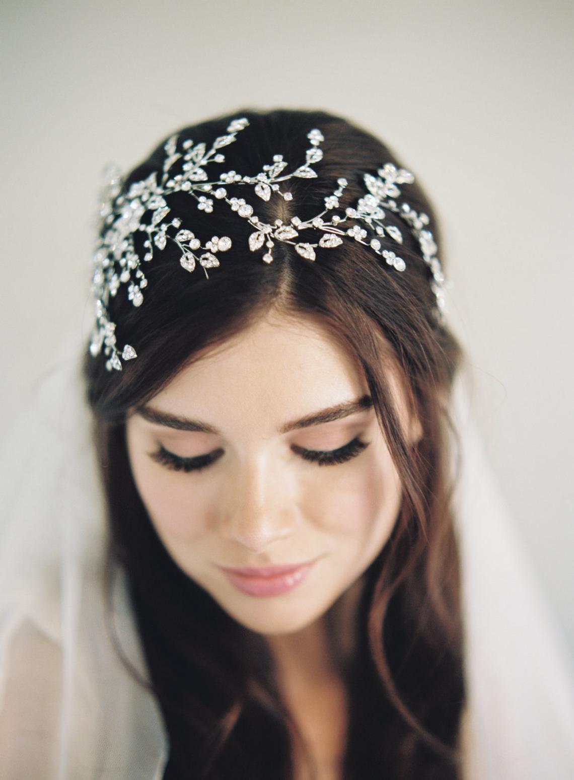 Silber Hochzeit Tiara-Braut Kristall Krone-Woodland Krone-1920er Jahre Kopfschmuck-Halo Krone-Boho Krone-Kristall Halo-Gatsby Kopfschmuck-1604