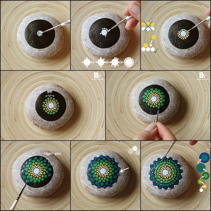 Mandala Steine selbst gestalten, grüne und blaue Punkte, DIY Anleitung in acht #steinebemalenanleitung
