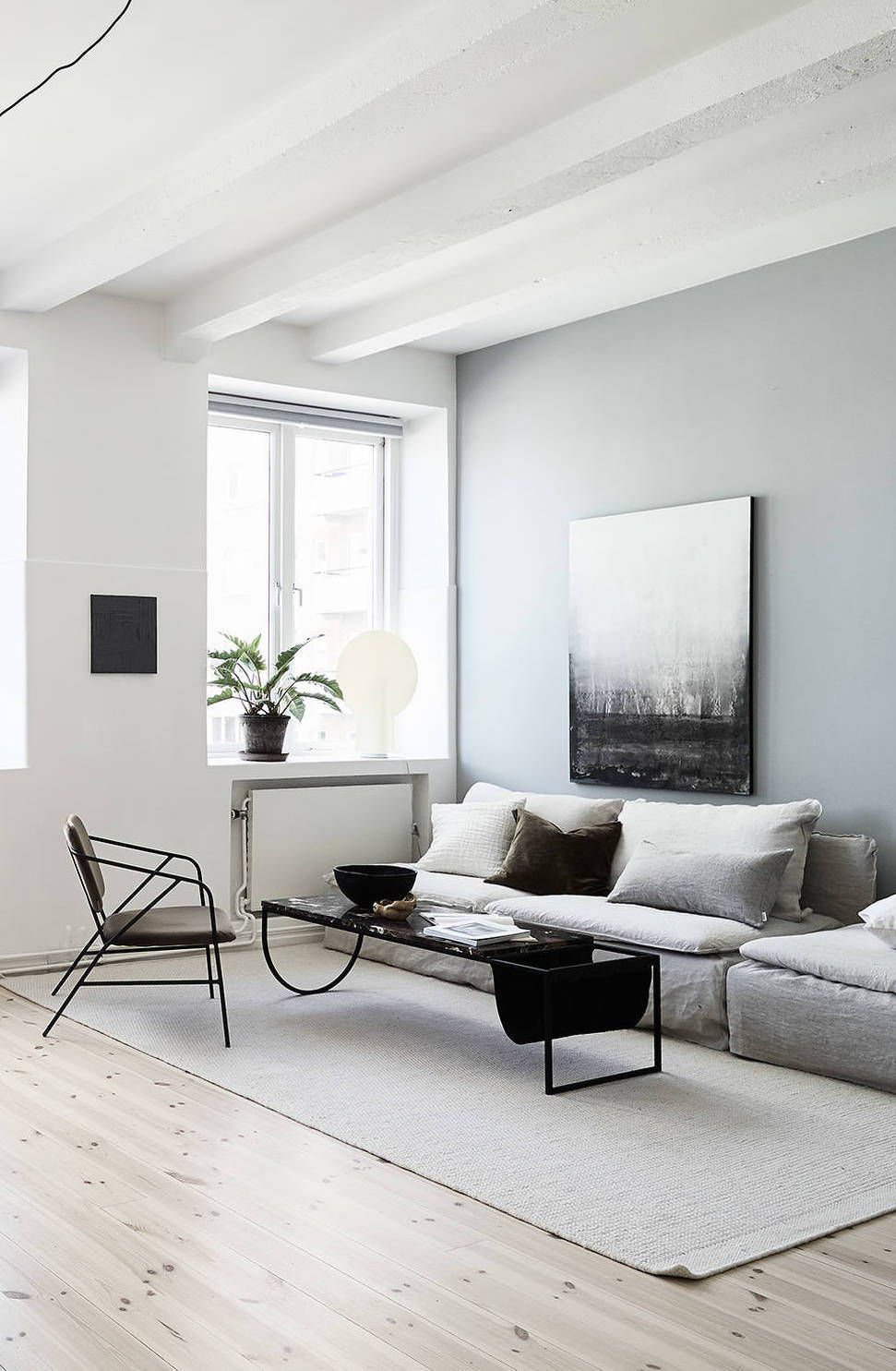 Home With Blue Grey Accents With Images Minimalist Living Room