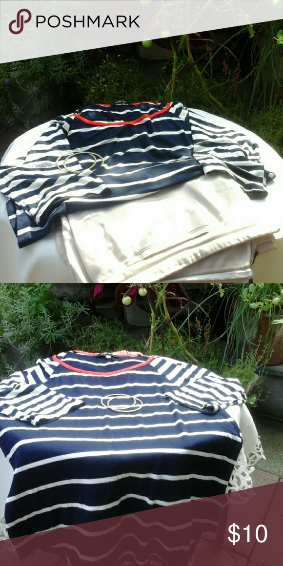 Casual stripe comfy top! 95% rayon,  5% spandex. Great condition.  Beautiful with jeans. # GAL Boss brand. Navy blue and white stripe with red neck trip boss Tops Blouses