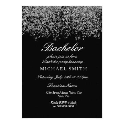 Silver Glitter Confetti Black Bachelor Party Card - glitter glamour brilliance sparkle design idea diy elegant