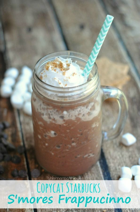 Copycat Starbucks S'mores Frappuccino recipe made with soymilk to give some added protein to keep you going through the morning (or afternoon)