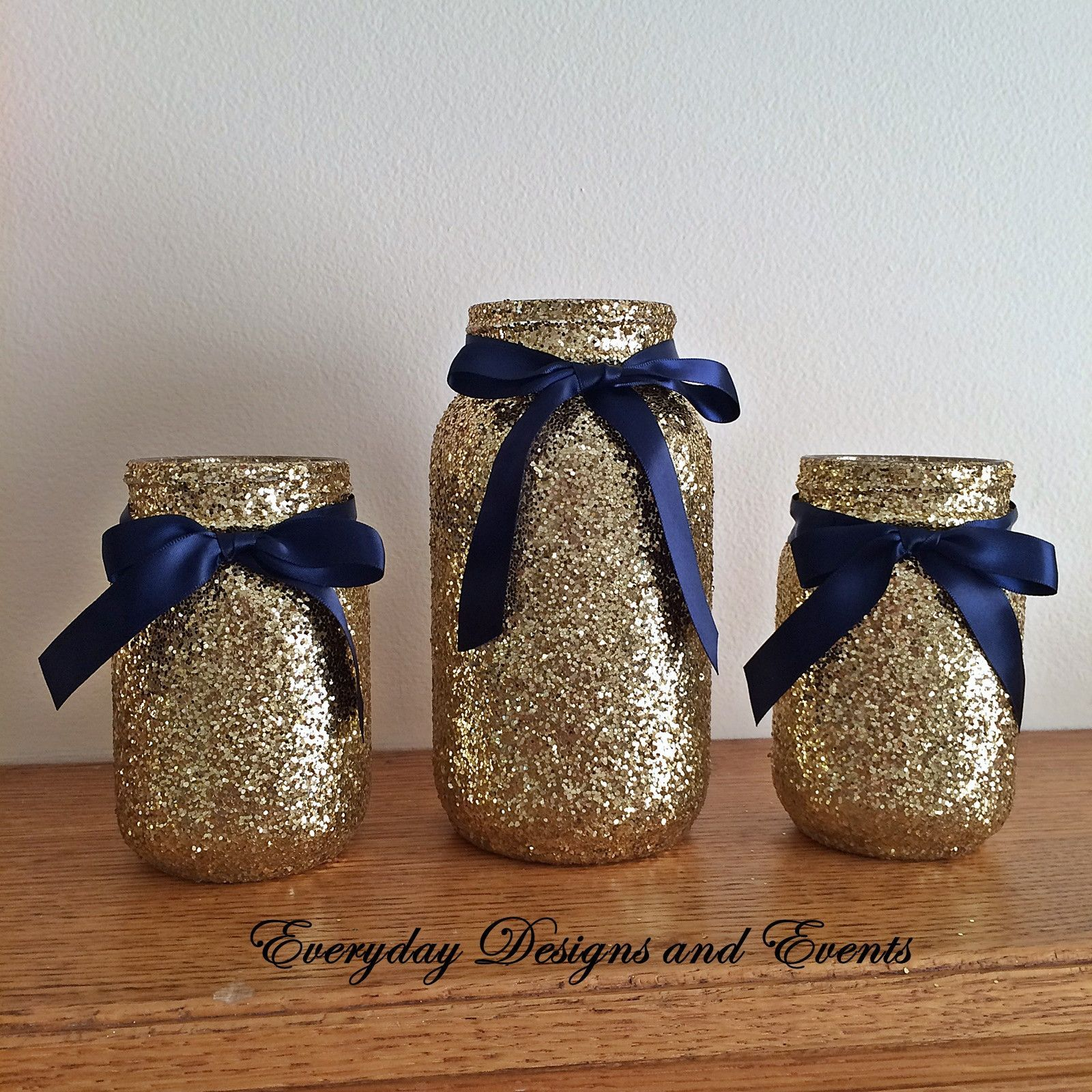 3 Jars Navy and gold mason jar set Centerpiece set Navy and