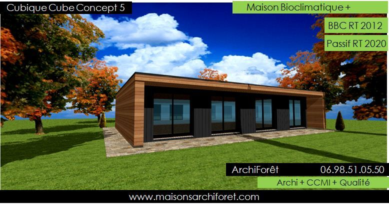 Maison cubique cube ou carree en ossature bois par votre for Architecte ou constructeur