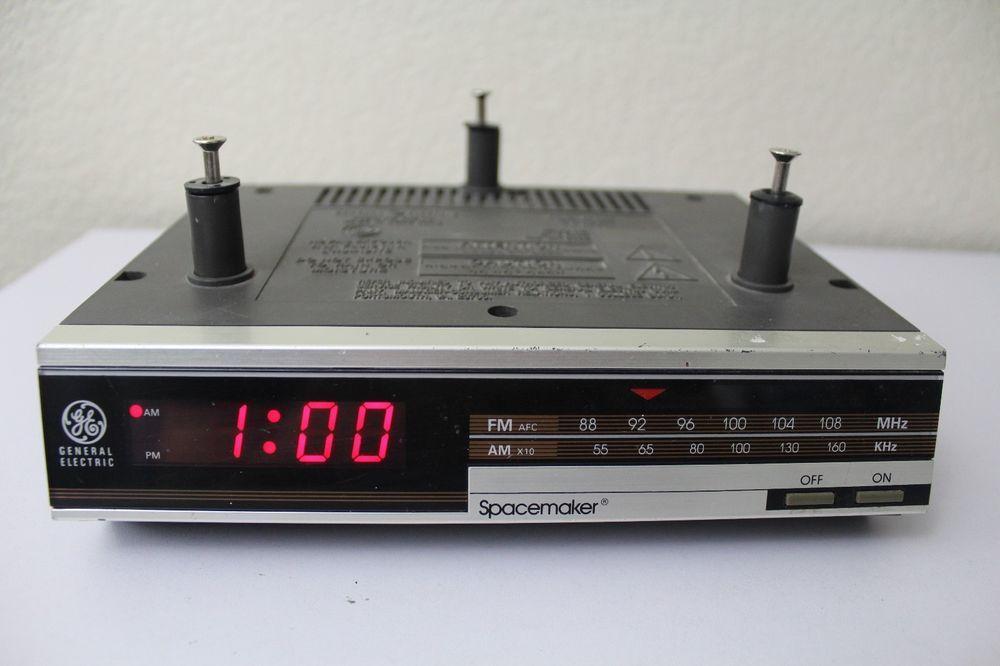 Ge Spacemaker Under Cabinet Vintage Digital Clock Radio Wired Good