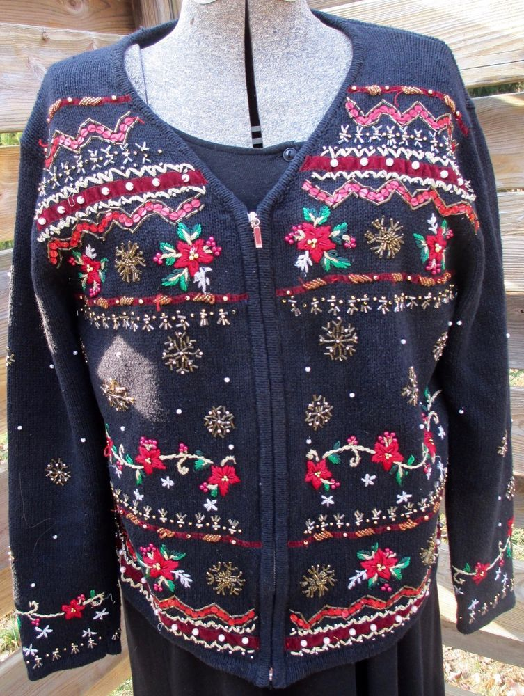 festive beaded sequin black christmas cardigan zip sweater pl bugle beads erika fullzip