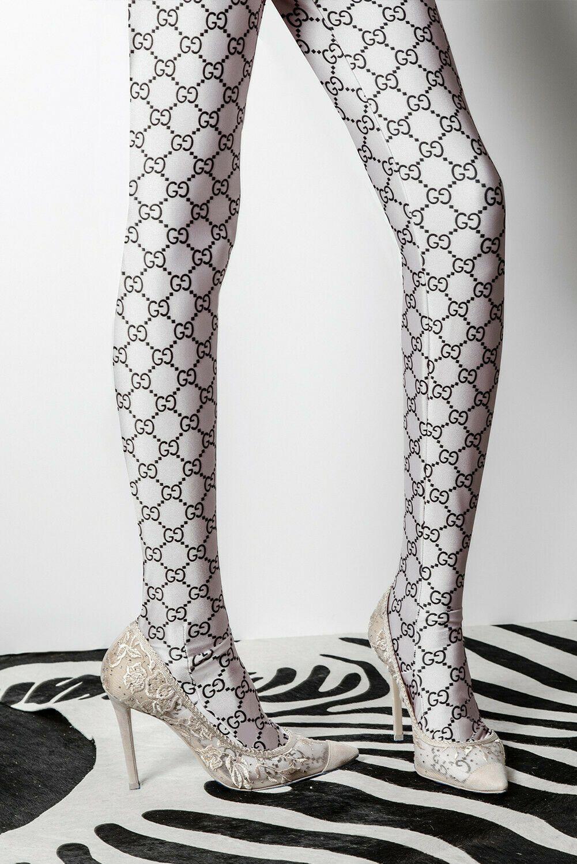 NEW Gucci Supreme Monogram Logo White Women s Tights