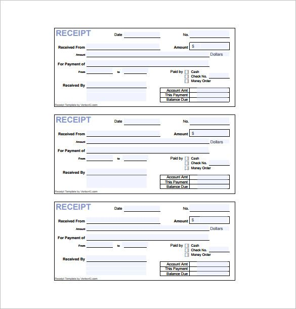 Receipt Form  Receipt Template Doc For Word Documents In Different