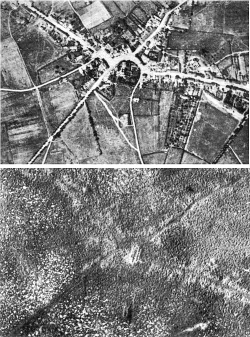 A before and after shot of the terrain over which the Battle of Passchendaele was fought. Shows the complete devastation of the land - good to illustrate the long term consequences of the war for local people.