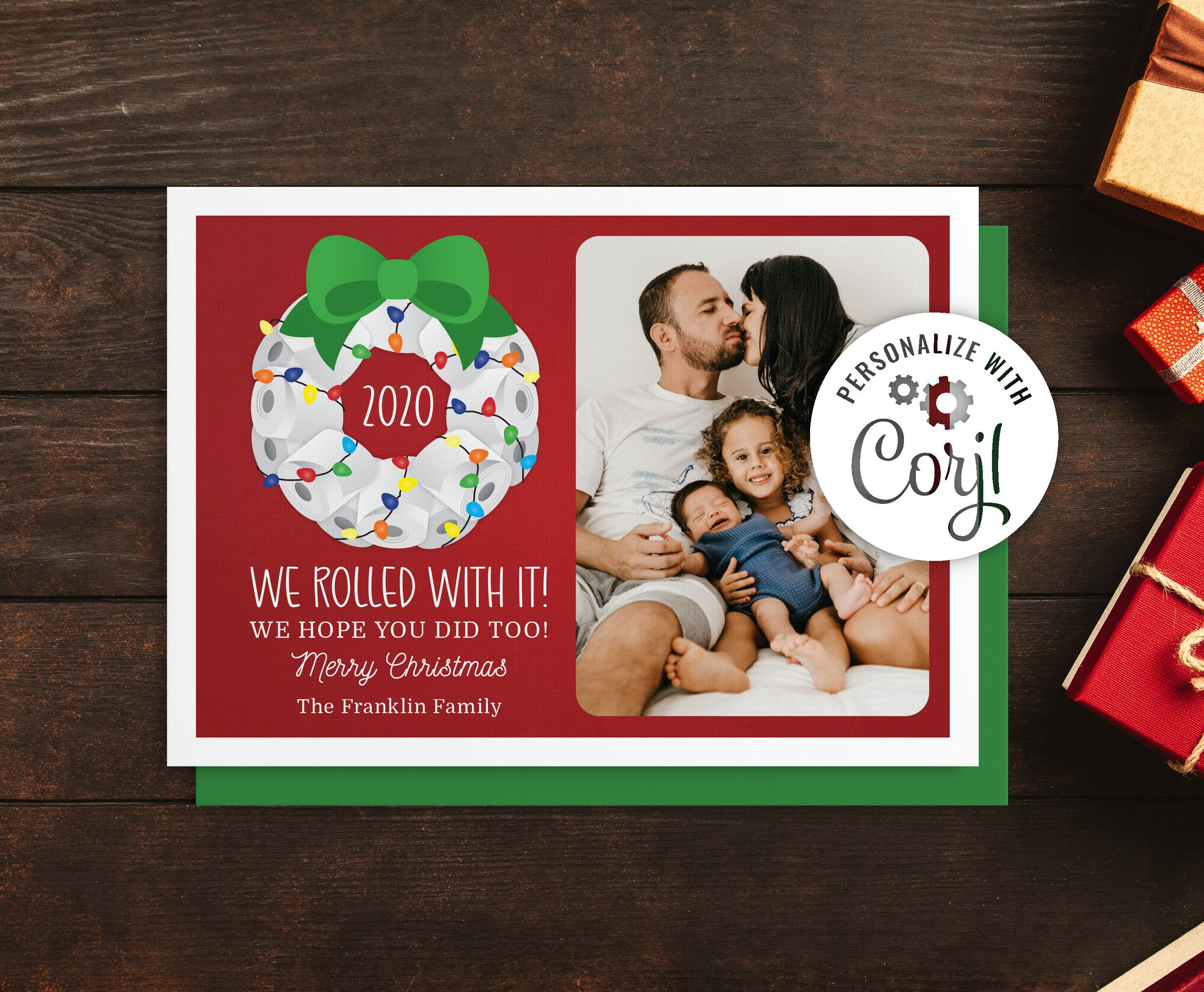 Rolled With It 2020 Christmas Card Funny Christmas Card Etsy Funny Christmas Cards Printable Photo Card Christmas Cards