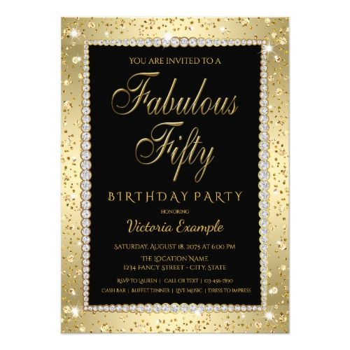 Black Gold Diamond Fabulous 50 Birthday Invitation Zazzle Com In