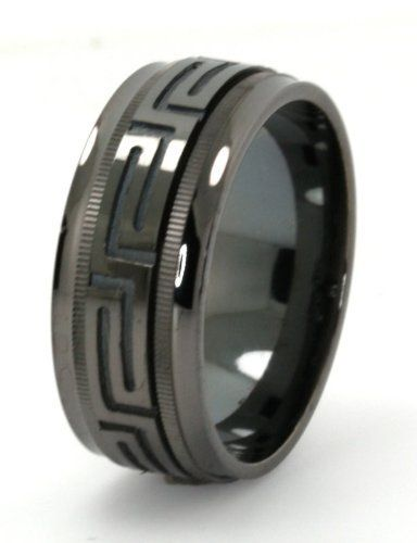 Mens Solid Sterling Silver Black Rhodium Plated Versace Style Spinning Wedding Band Size 9