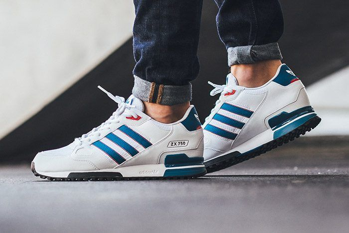 Shop Adidas ZX Flux ZX 750 Leather Shoes WhiteBlueRed