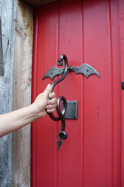 Dragon door knocker sculpture hand forged by blacksmith naz via etsy dark castle - Dragon door knockers ...