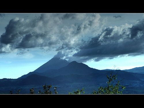 Volcanos Gagxanul or Santa María (left) and Catinocjuyup or Cerro Quemado. Usually in Guatemala the volcanos has two names, One of Mayan origin and other placed by the Spaniards during the colony.  Salcaja, Quetzaltenango Landscape