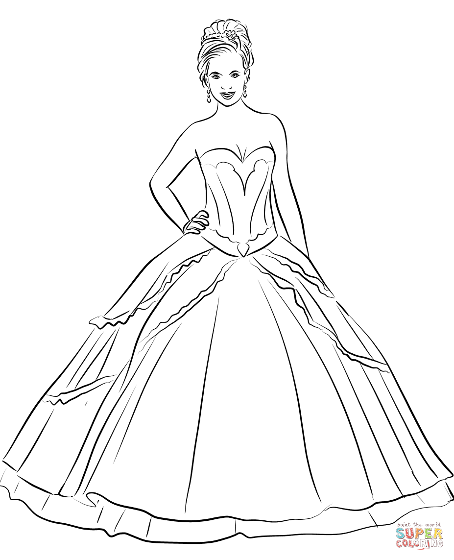 Quinceanera Dress coloring page  Free Printable Coloring Pages