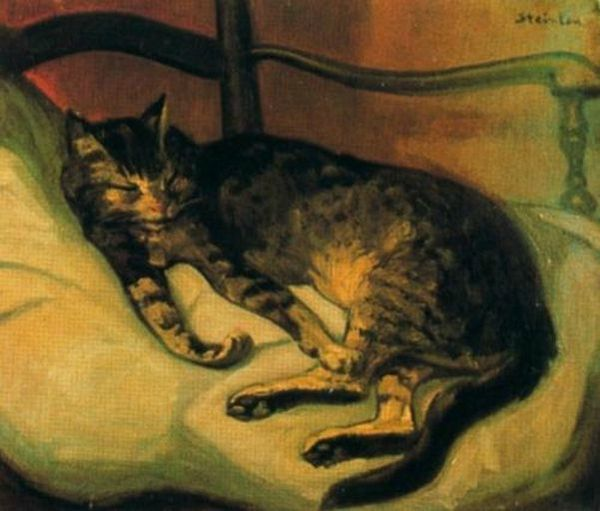 Theophile-Alexandre_Steinlin_Chat_couche 1898