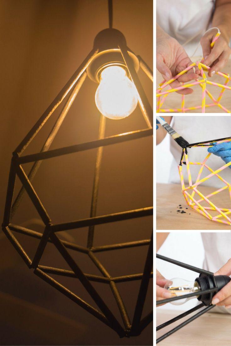 L mpara moderna con pajitas de cart n forma geom trica - Como hacer una lampara de mesa casera ...
