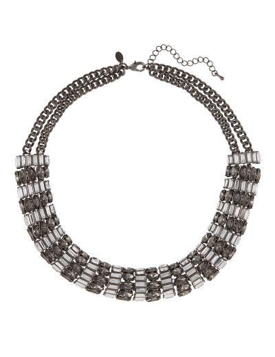M&S Diamanté & Baguette Stone Collar Necklace