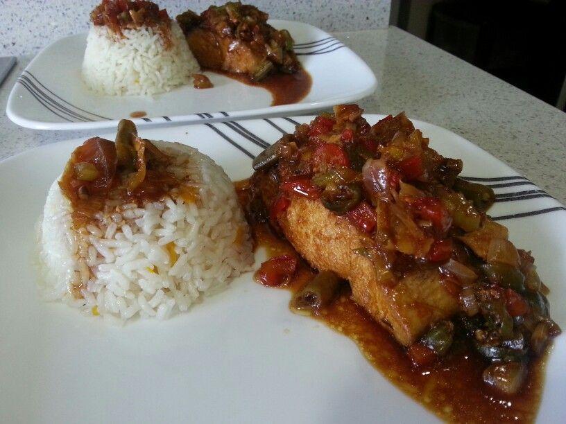 Pescado Al Horno Con Vegetales Y Arroz Ohana Delicioso Food Eat Yummy