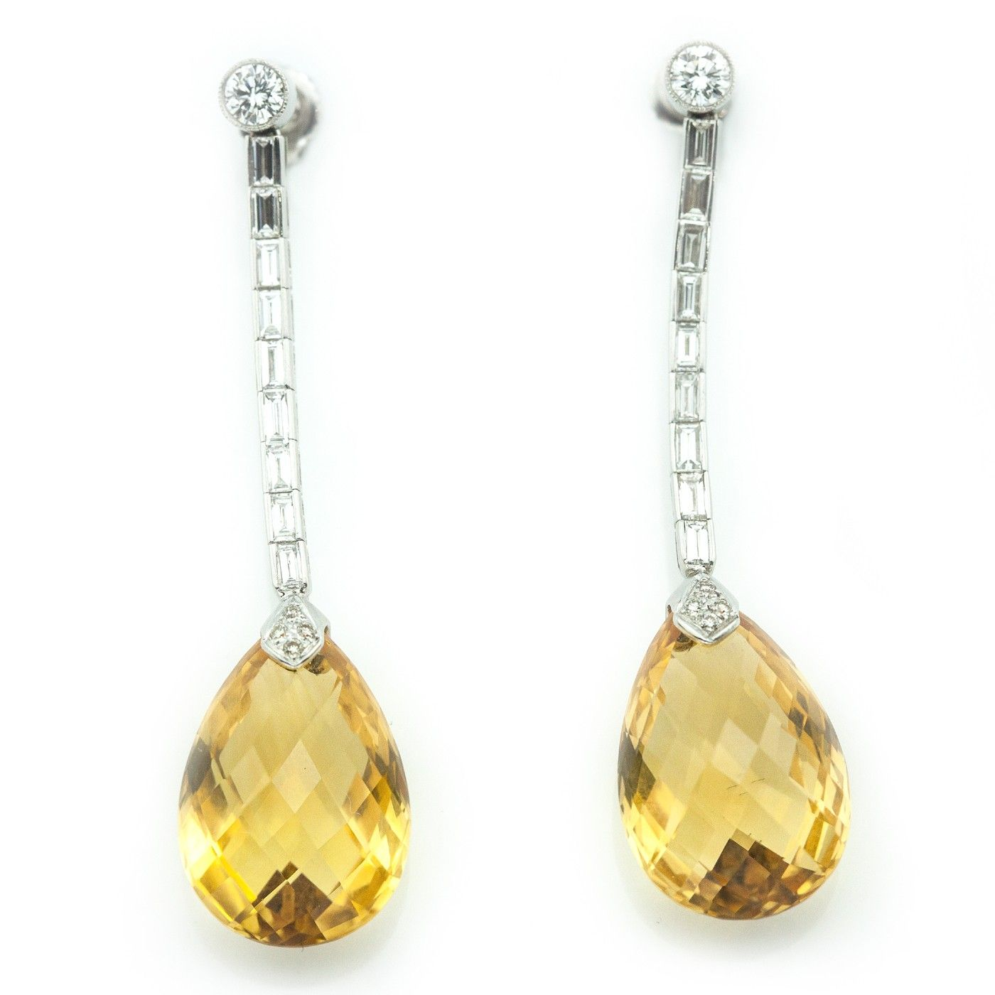 Platinum Earrings with Diamonds and Citrine Drops