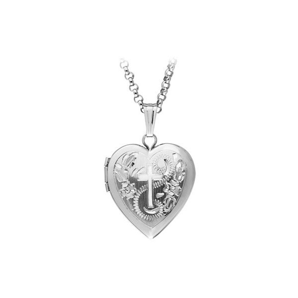 Heart with cross locket pendant in sterling silver 85 liked on heart with cross locket pendant in sterling silver 85 liked on polyvore featuring jewelry pendants necklaces silver sterling silver crucifix aloadofball Choice Image