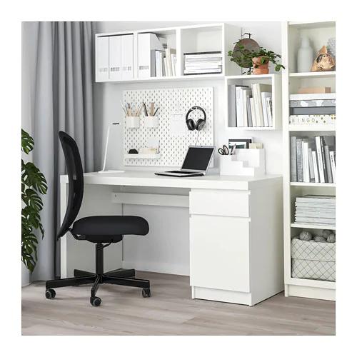"MALM Desk - black-brown 55 1/8x25 5/8 "" | White desks, Ikea malm desk, Black desk"