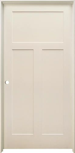 Mastercraft 36 X 80 Primed Mission Flat 3 Panel Hollow Core Prehung Interior Door Right Inswing