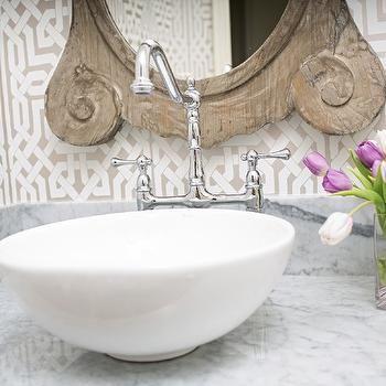 Trellis Wallpaper, French, bathroom, Amanda Carol Interiors