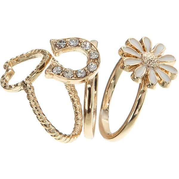 Accessorize Lucky Daisy Stacking Ring Set $4 75 ❤ liked on