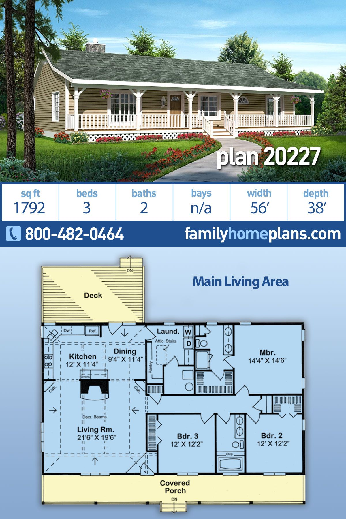 Traditional Style House Plan 20227 With 3 Bed 2 Bath Family House Plans Ranch House Plans Country House Design