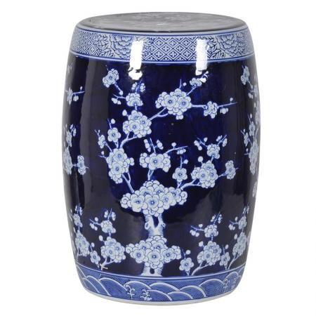 Elegant Cobalt Blue Garden Stool