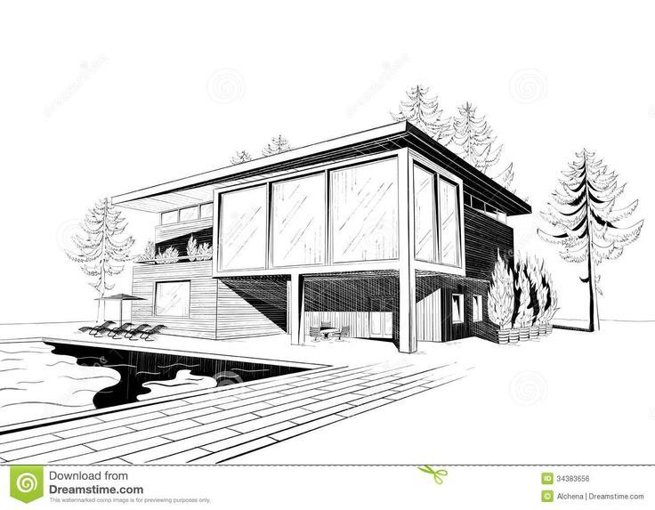 Excellent Modern Home Architecture Sketches On Home Design With Vector  Black And White Sketch Of Modern Suburban Wooden House With