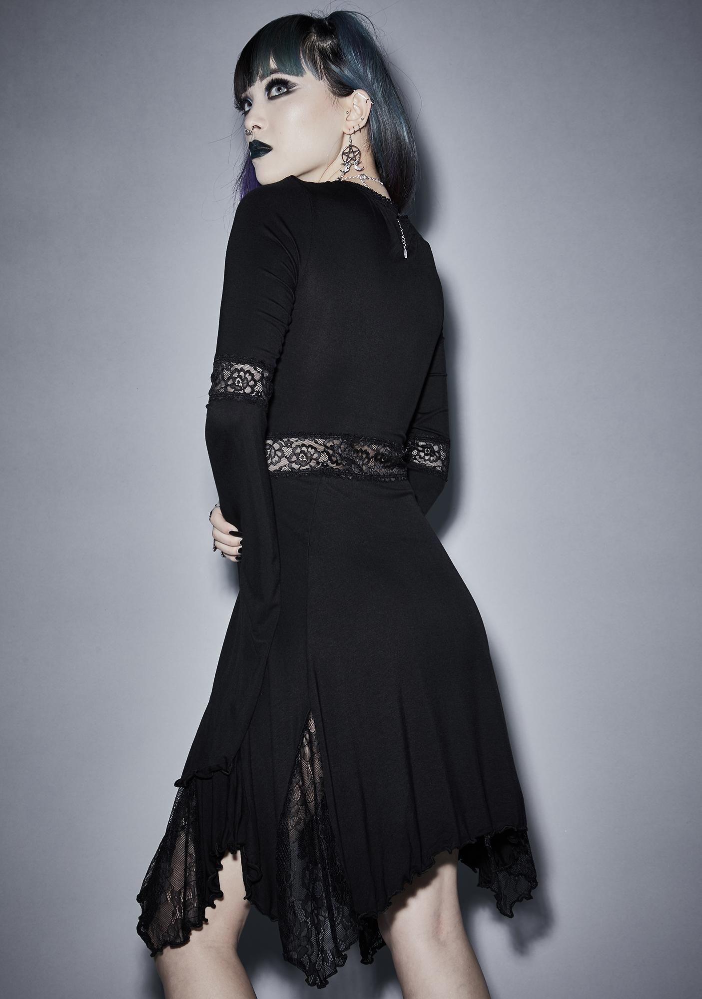 Funeral Parade Bell Sleeve Dress Goth Dress Bell Sleeve Dress Vinyl Dress [ 2000 x 1405 Pixel ]
