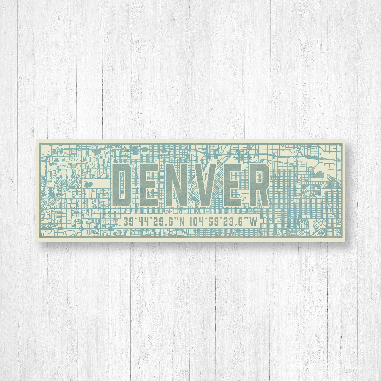 Denver Map Print, Street Map Sign, Map Print, City Map Sign, Denver ...