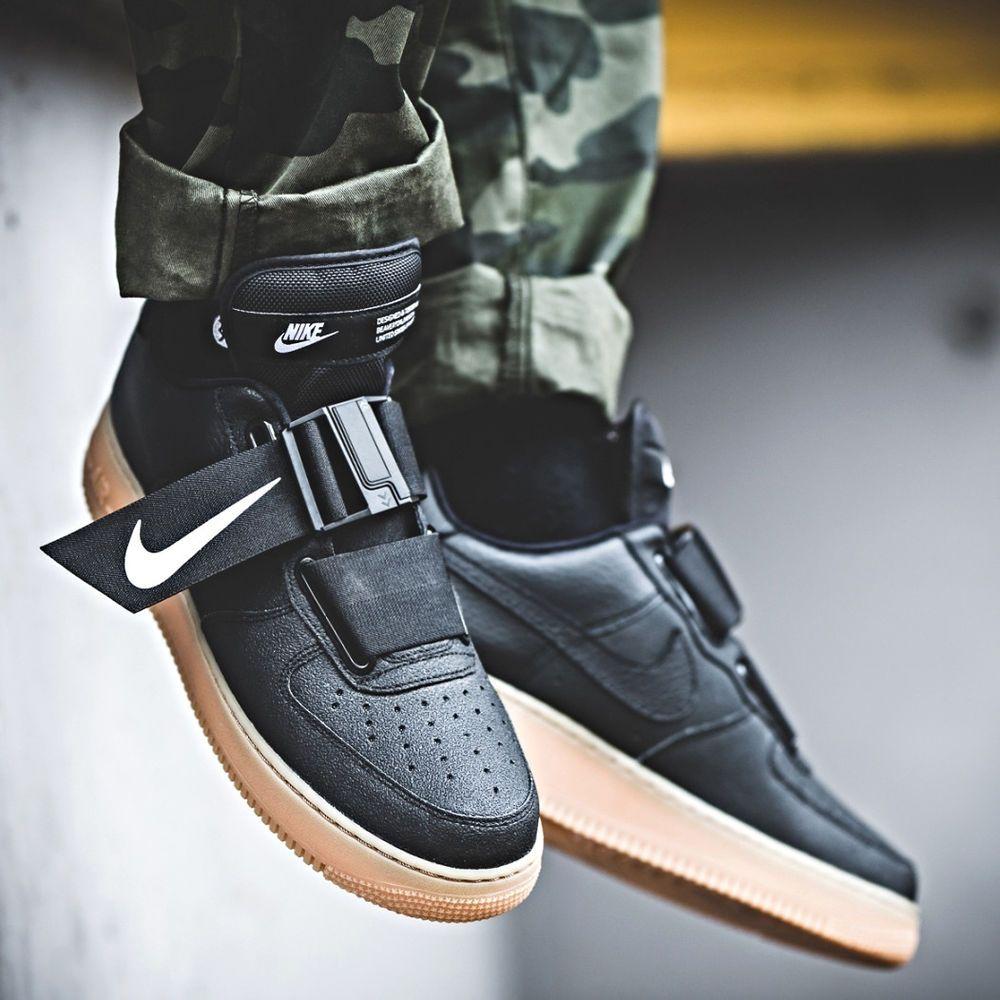 Details About Nike Air Force 1 Utility Black White Gum Sz 7 13 Men