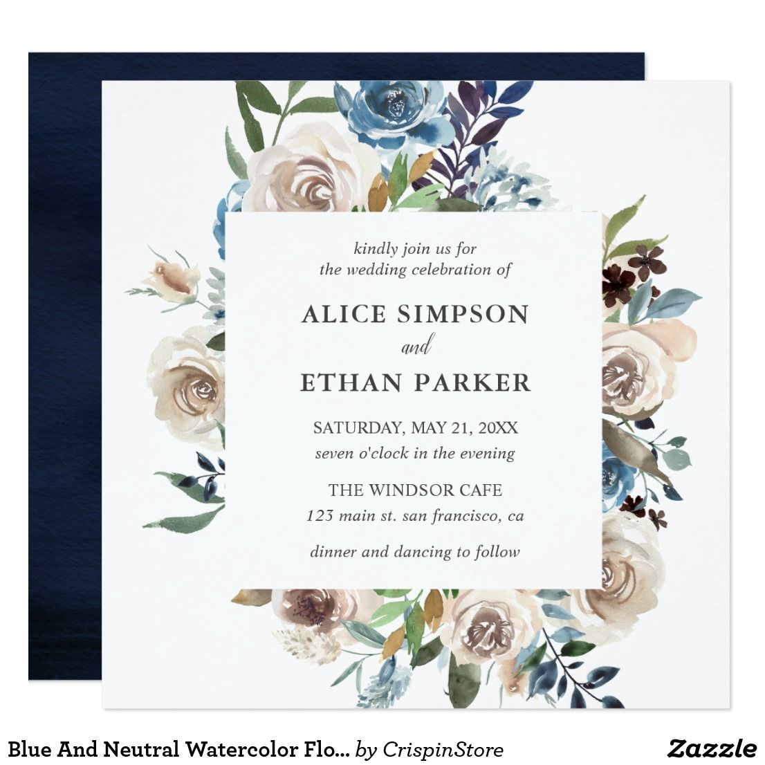 Our Elegant Square Wedding Invitation Features Watercolor Floral