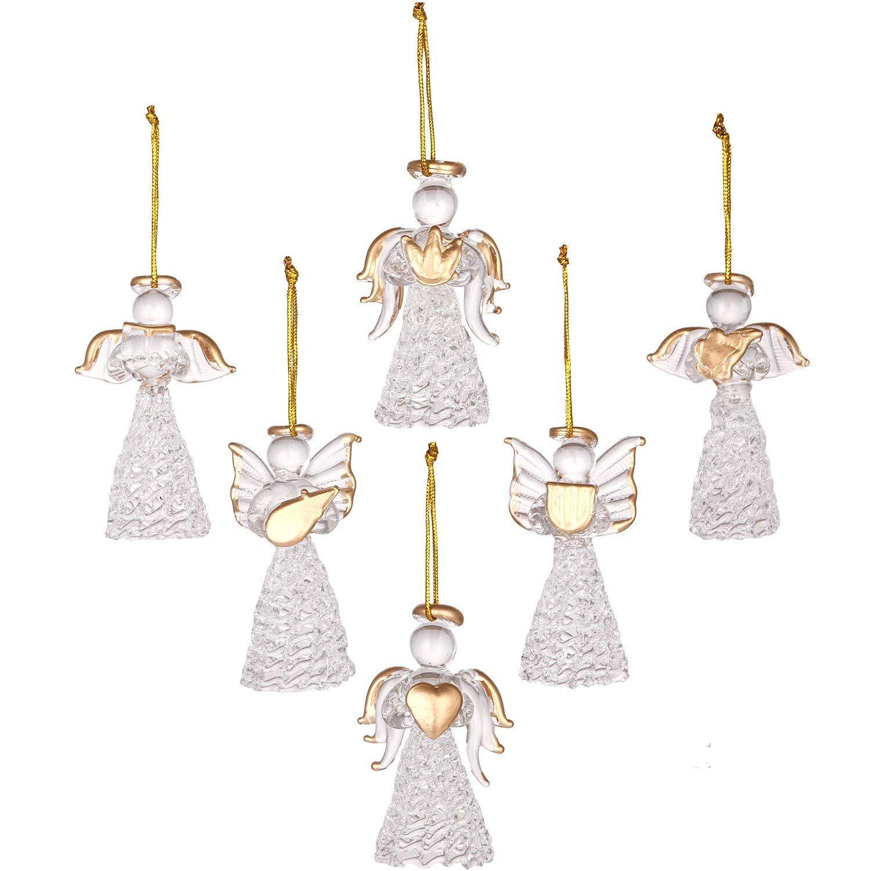 Sea Team Mini Sized Clear Glass Angel Ornaments for Christmas Tree