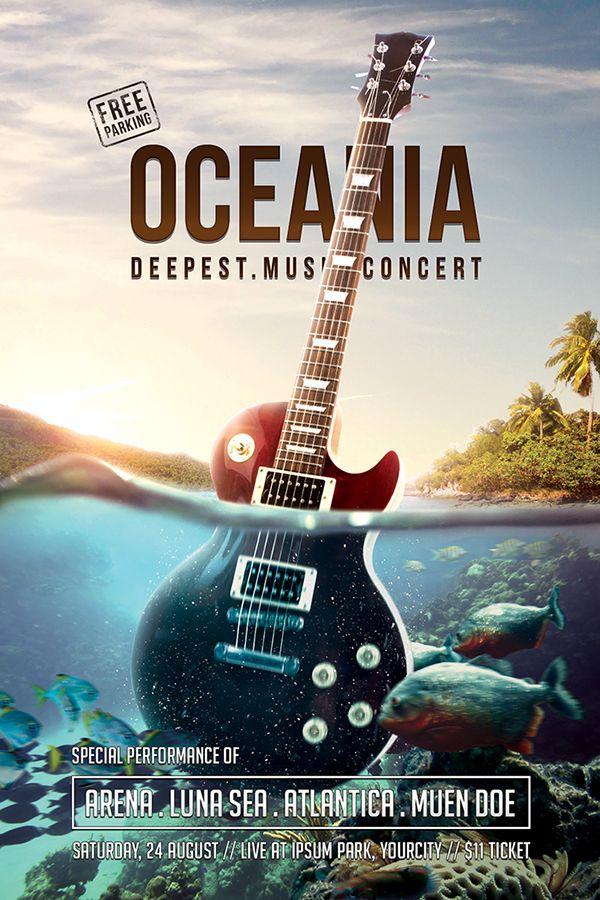Oceania Music Concert Flyer Psd Template On Behance  Inspiration