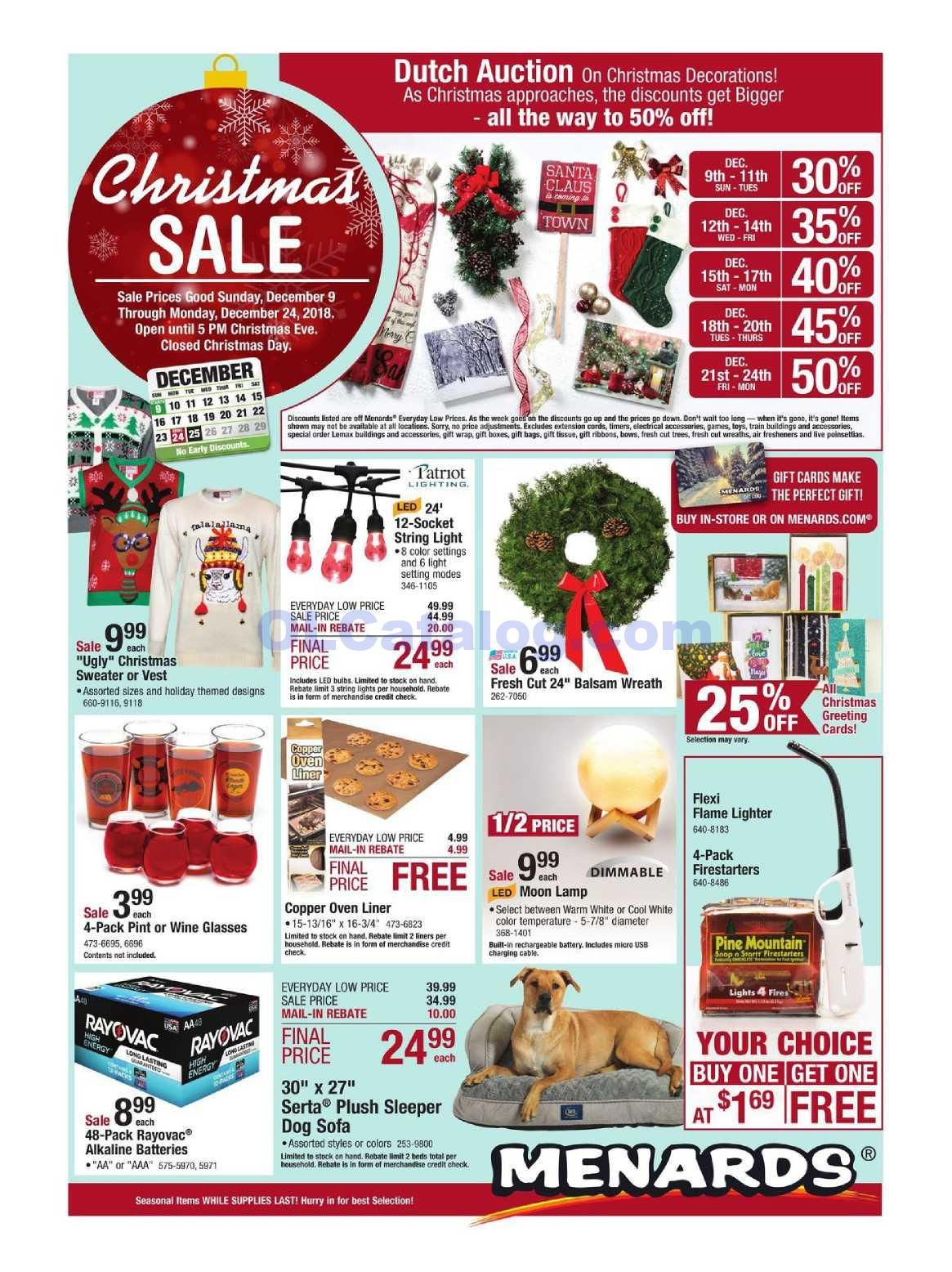 Menards Weekly ad December 9 – 24, 2018  View the Latest