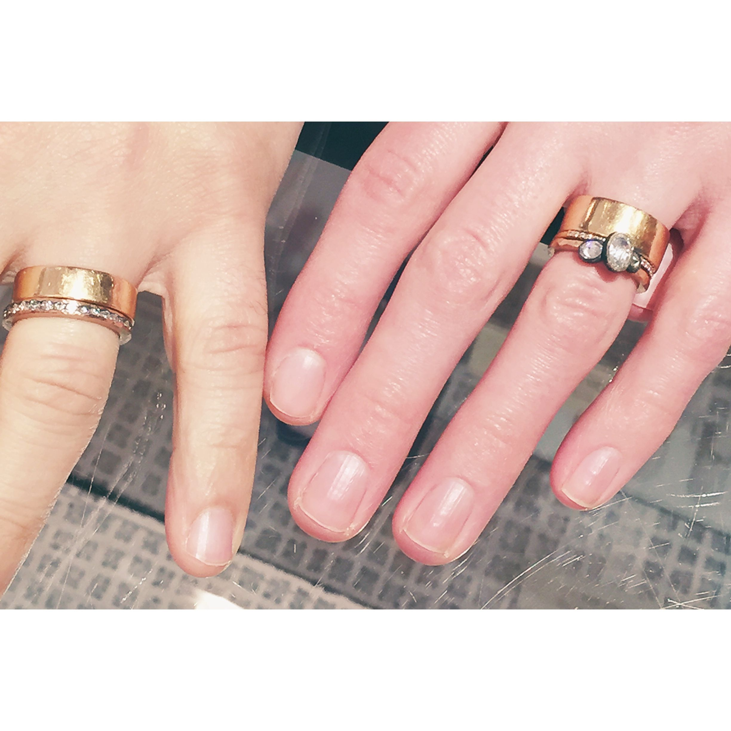 Wedding bands were 18k rose gold designed by Megan Thorne, with Todd ...