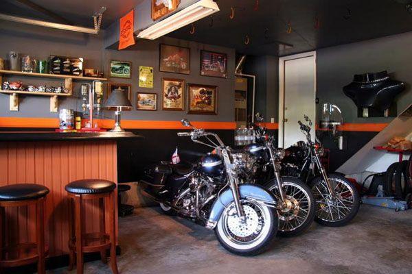 Dream Motorcycle Garages Park Your Ride In Style At Night Motorcycle Garage Garage Decor Man Cave Garage