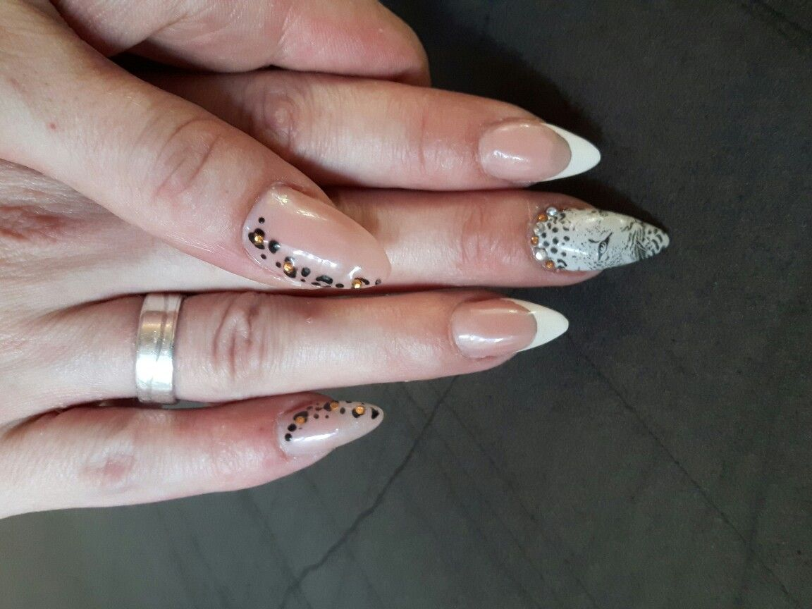 stiletto nails with leo print french white and nude fullcover