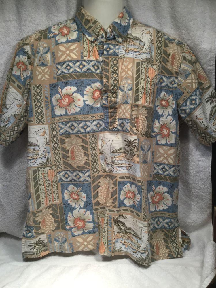39af95e9a0 Reyn Spooner Pullover Shirt Hawaiian Traditions Large Hibiscus Tribal  Pineapple  ReynSpooner  Hawaiian