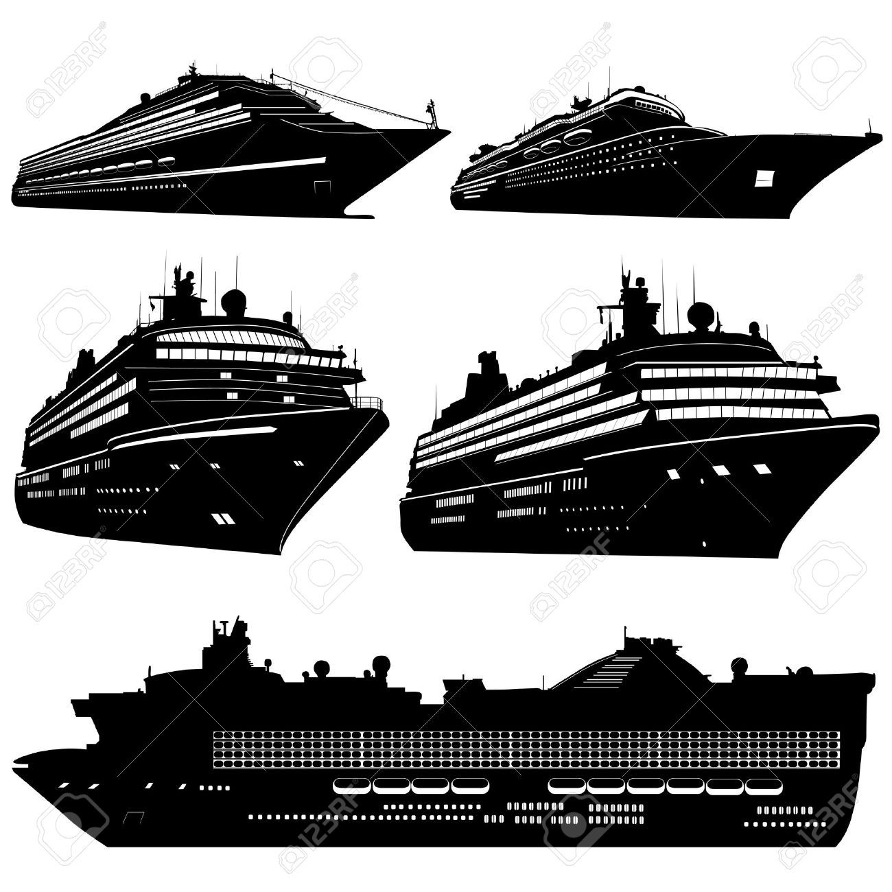 Free Cruise Ship Silhouette Clipart for your creation