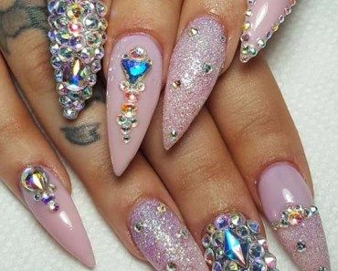 milky white with gold foil on coffin nails for every girls